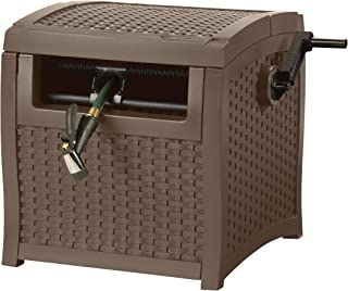 product image for Suncast Resin Hose Hideaway with Hose Guide - Durable Outdoor Hose Storage Reel with Crank Handle, Lid, and Slide Trak Hose Guide - 225' Hose Capacity - Mocha Wicker