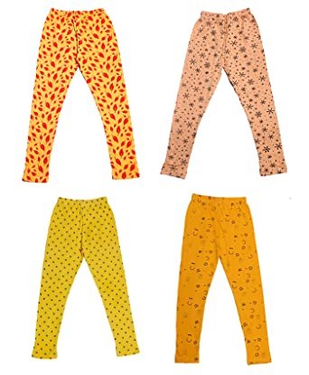Indistar IndiWeaves Girls Super Soft and Stylish Cotton Printed Legging Pack Of 4