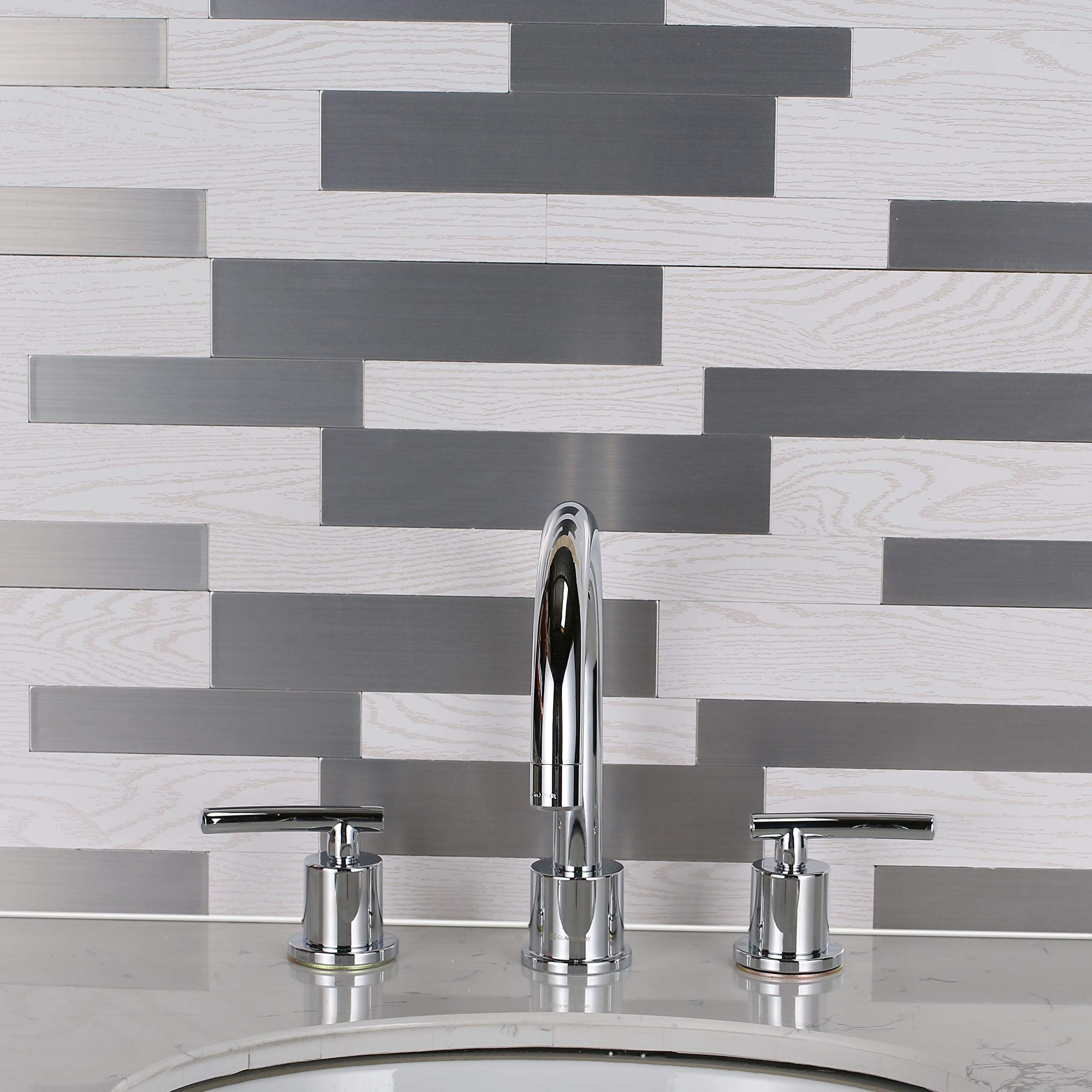 Belmont Home BH SimpliTILE 6 x 24 Peel & Stick Mosaic Tile (Pack of 10) Reclaimed Wood, Silver Metal