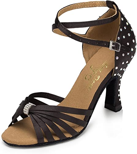 Aaron Womens Peep Toe Mid Heel Salsa Tango Latin Monk Strap Dance Sandals