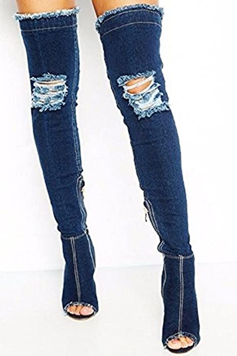 8b187cd838f Flirty Wardrobe Womens Denim Stiletto Over Knee Boots Shoes Peep Toe Thigh  High Ladies Sexy Heel