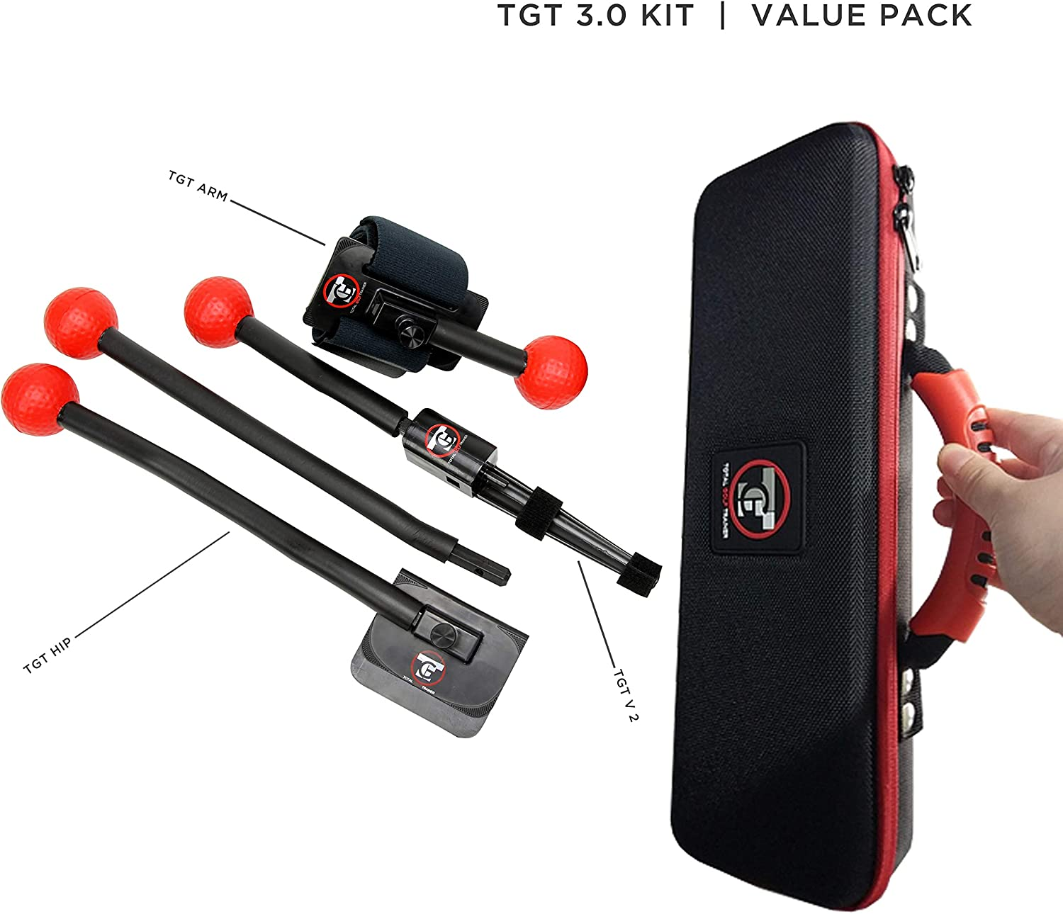 Total Golf Trainer 3.0 Kit - Golf Training Aids - Golf Swing Trainer - Teaches and Corrects Golf Swing, Posture and Hip Rotation, Wrist, Elbow and Arm Position
