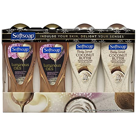 Softsoap Body Wash, Coconut Butter and Macadamia Oil Variety Pack – 60 fluid ounce 4 Pack