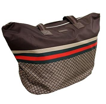 04ad1c61060802 Amazon.com | Gucci Unisex Brown Nylon Diamante Tote Travel Bag 268106 8636  (XL) | Travel Totes