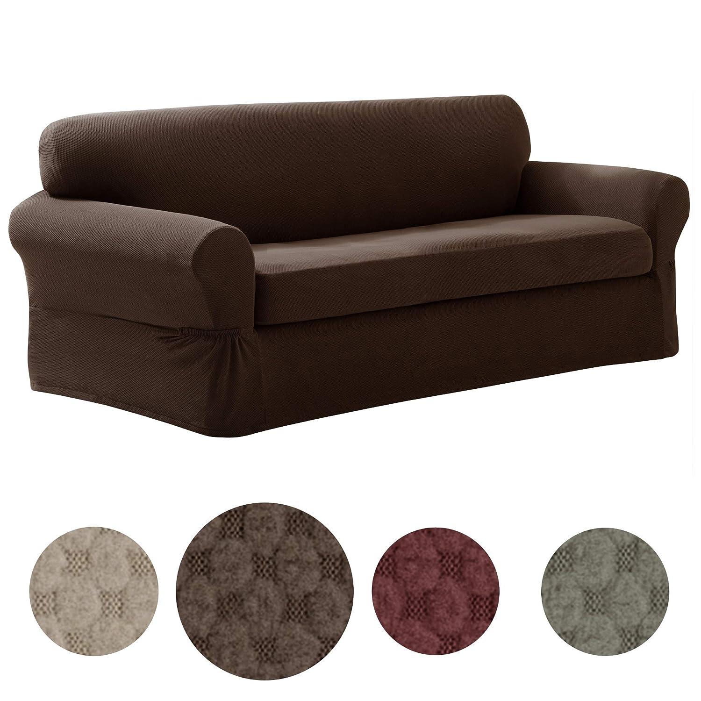 Amazon.com: MAYTEX Pixel Ultra Soft Stretch 2 Piece Sofa Furniture ...