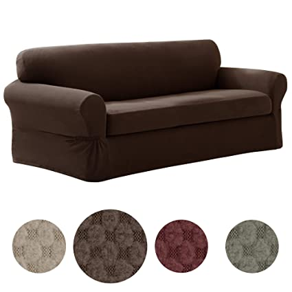 Amazon.com: MAYTEX Pixel Ultra Soft Stretch 2 Piece Sofa Furniture ...