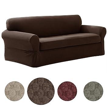 Amazon Com Maytex Pixel Ultra Soft Stretch 2 Piece Sofa Furniture
