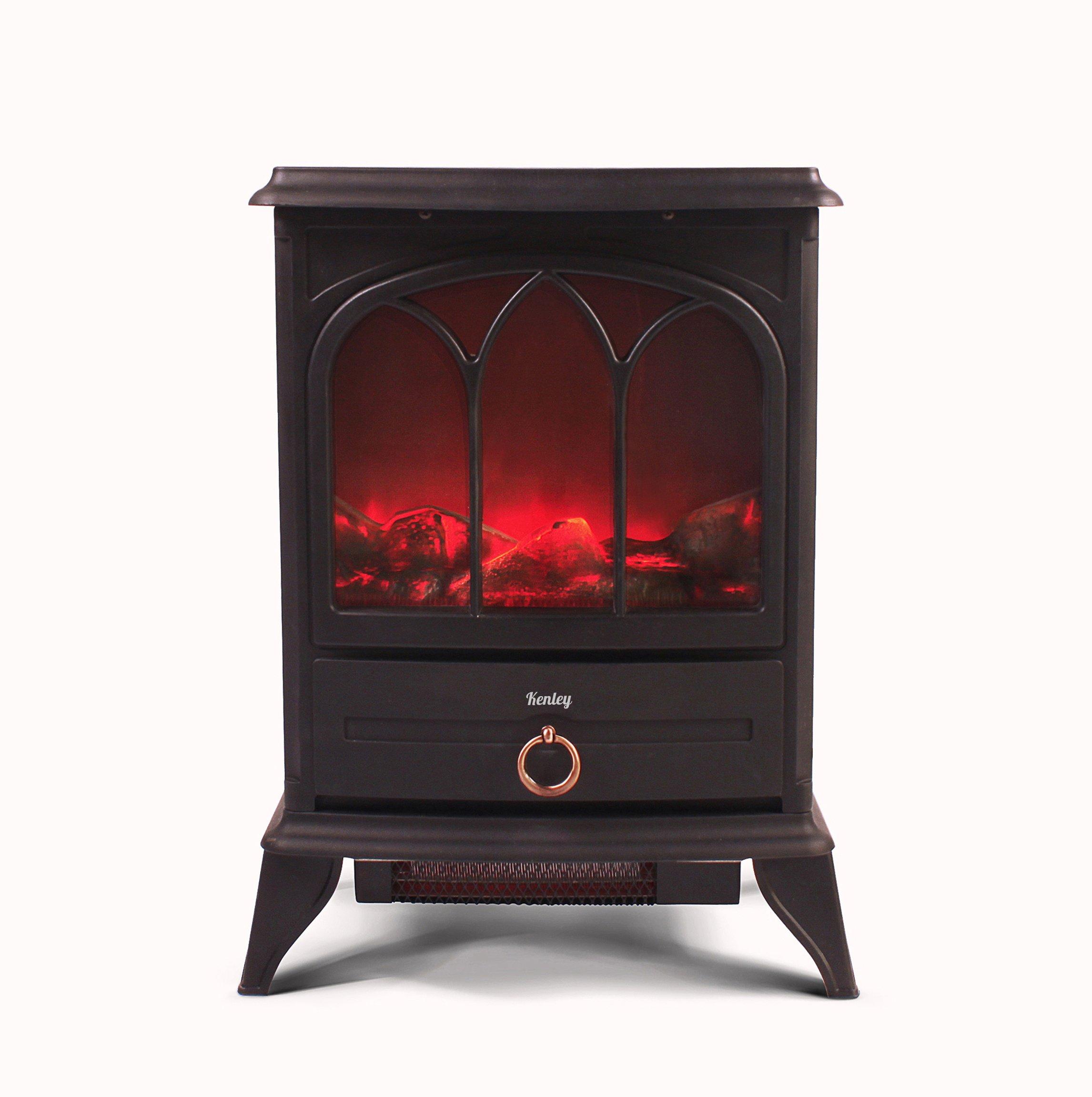 Kenley Chimenea Electrica - Efecto Estufa de Leña Ardiendo - Calefactor con Termostato - 1000W/