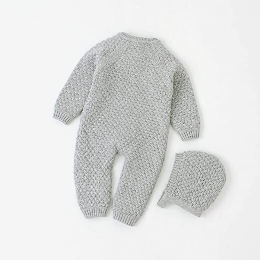 Lemohome Baby Newborn Cotton Knitted Sweater Romper Long Sleeve Outfit with Warm Hat Set