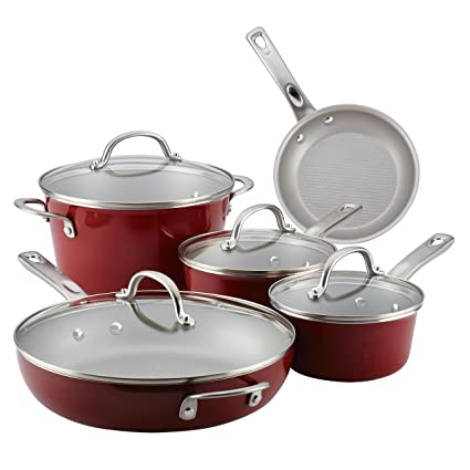 Ayesha Curry Home Collection Porcelain Enamel Nonstick Cookware Set Sienna Red 9 Piece