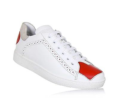 97eeadb07ed072 Twin-Set Weißer Schuh mit Schnürsenkeln Aus Leder, phantasievoll und  Modisch, Seitlich ein