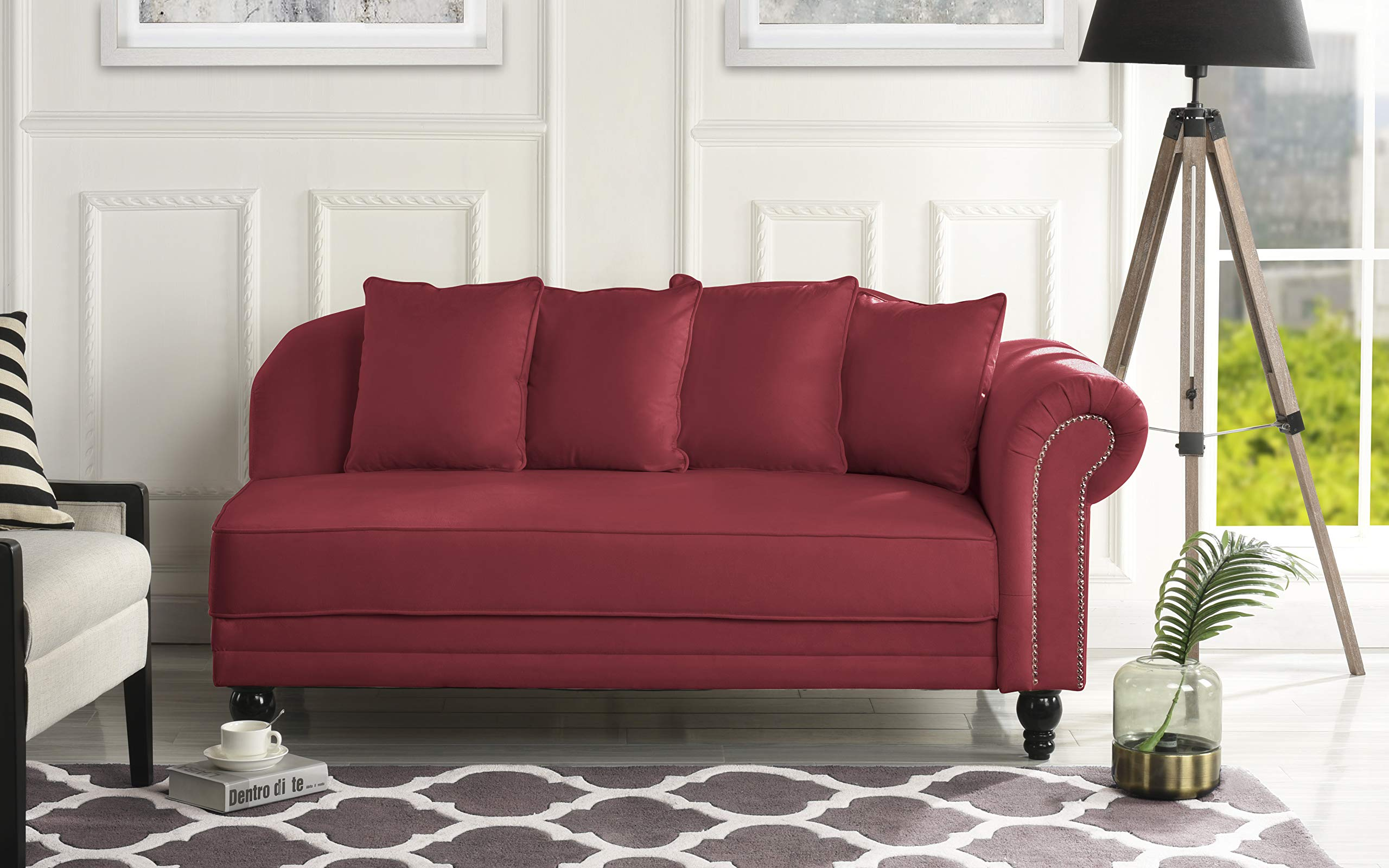 Sofamania Large Classic Velvet Fabric Living Room Chaise Lounge with Nailhead Trim (Rose Red) by Sofamania