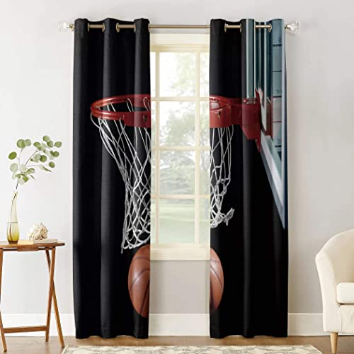 Window Curtain Basketball and Hoop Home Decor Draperies 2 Panels Set