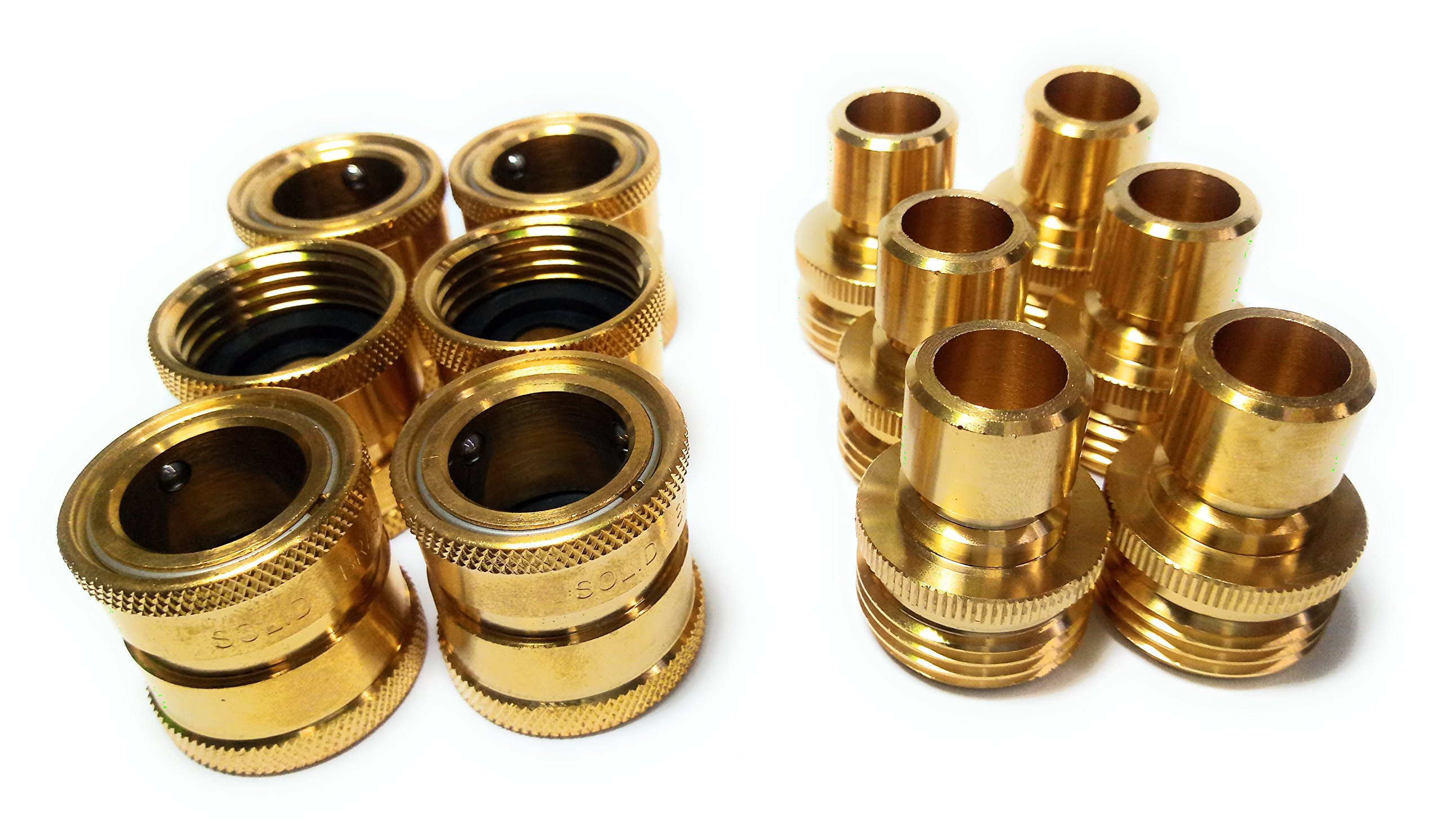 Garden Hose Quick Connect Set, Extra 30 Washers, 6 Female Connectors + 6 Male Connectors. by Solid Brass