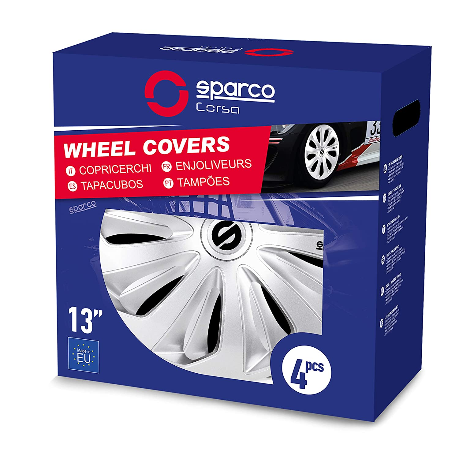 Amazon.com: Sparco SPC1670SV Sicilia Wheel Covers, Silver, Set of 4, 16
