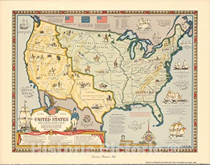 A Map of the United States Showing Boundaries Established after the  Louisiana Purchase and Florida Acquisition.1784-1844. Published, 1958 |  Vintage ...