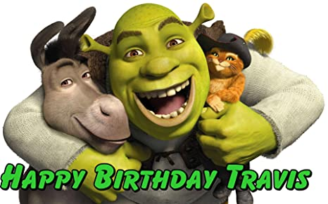 Shrek Puss in Boots Birthday Party Icing Edible Cake Topper 1//4 frosting sheet