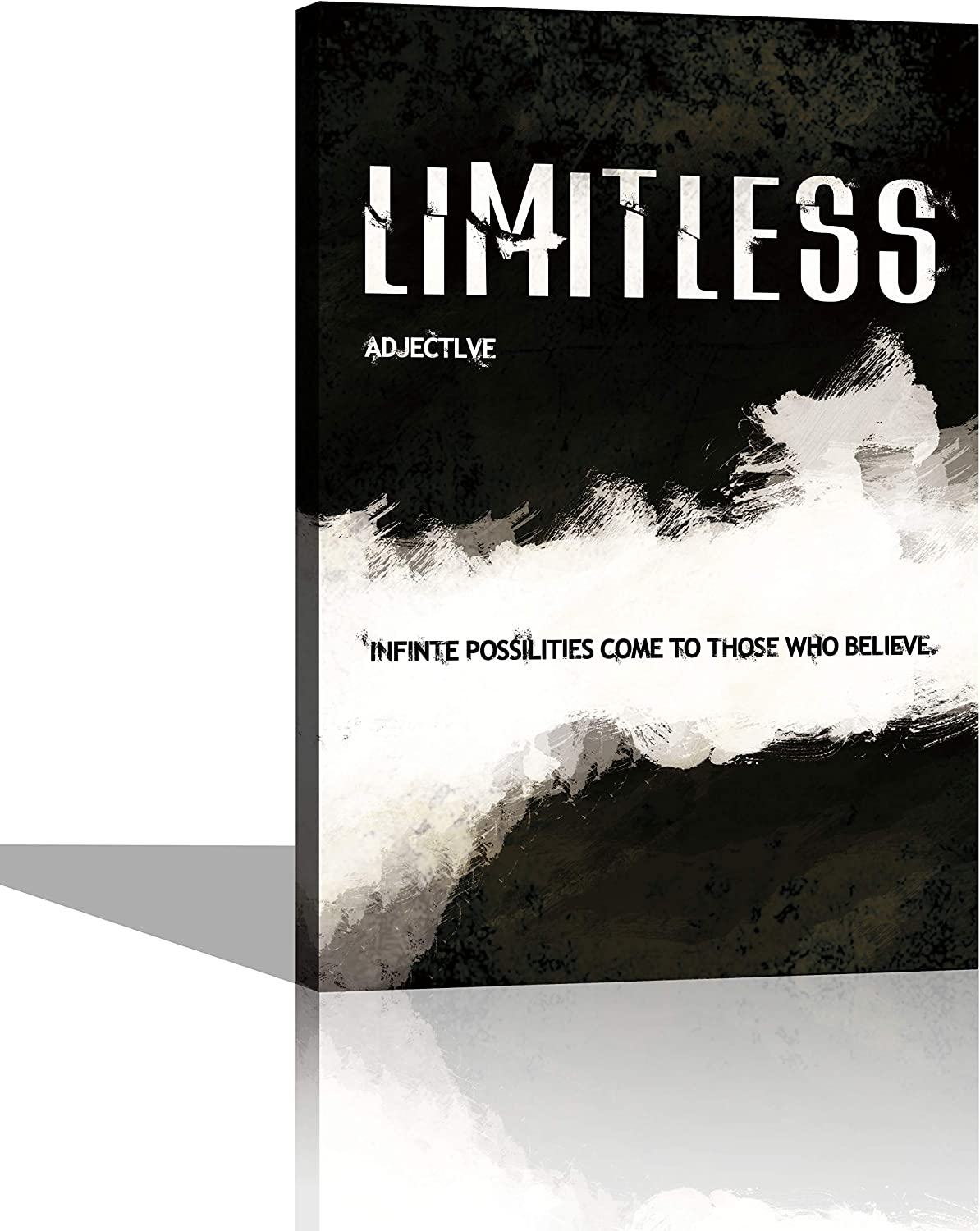 Limitless Black & White Wall Art Canvas Print Office Decor Inspiring Framed Prints Inspirational Quotes for Wall Art Decoration Ready to Hang