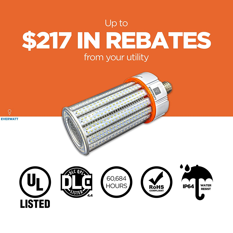HID Standard E26 Base CFL 30W LED Corn Light Bulb IP64 Waterproof Outdoor Indoor Area Lighting 4000K HPS EverWatt EW-IP64CB-030W-B1 4000K E26 150W Metal Halide Equivalent Replacement for MH 3530 Lumens