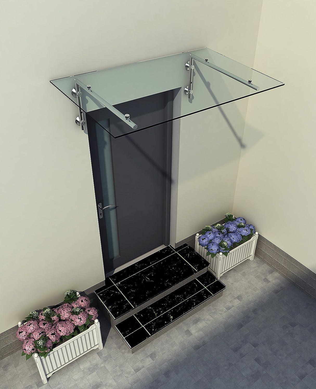 120x90cm Glasvordach Vordach Pavillion T/ürvordach Haust/ürvordach VSG-Glas inkl Typ - B Halterung, inkl. 2x Edelstahlhalterung Edelstahlhalterunen