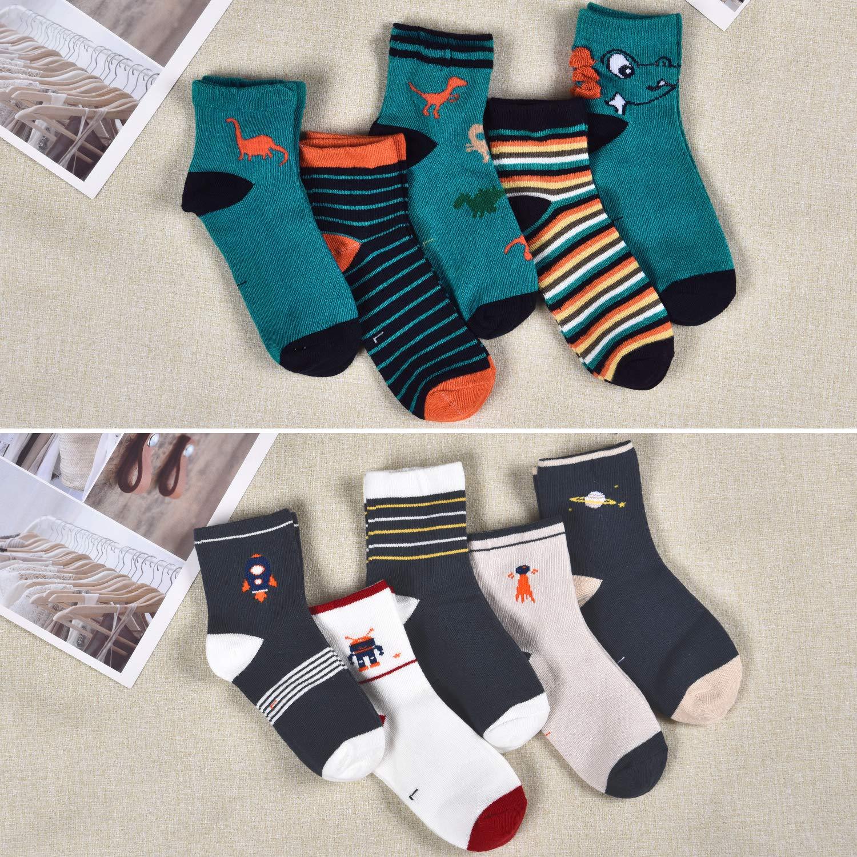 Pack of 10 Toddler Kids Socks Little Boys Cotton Dinosaur Cartoon Crew Socks Multicolor Breathable Socks
