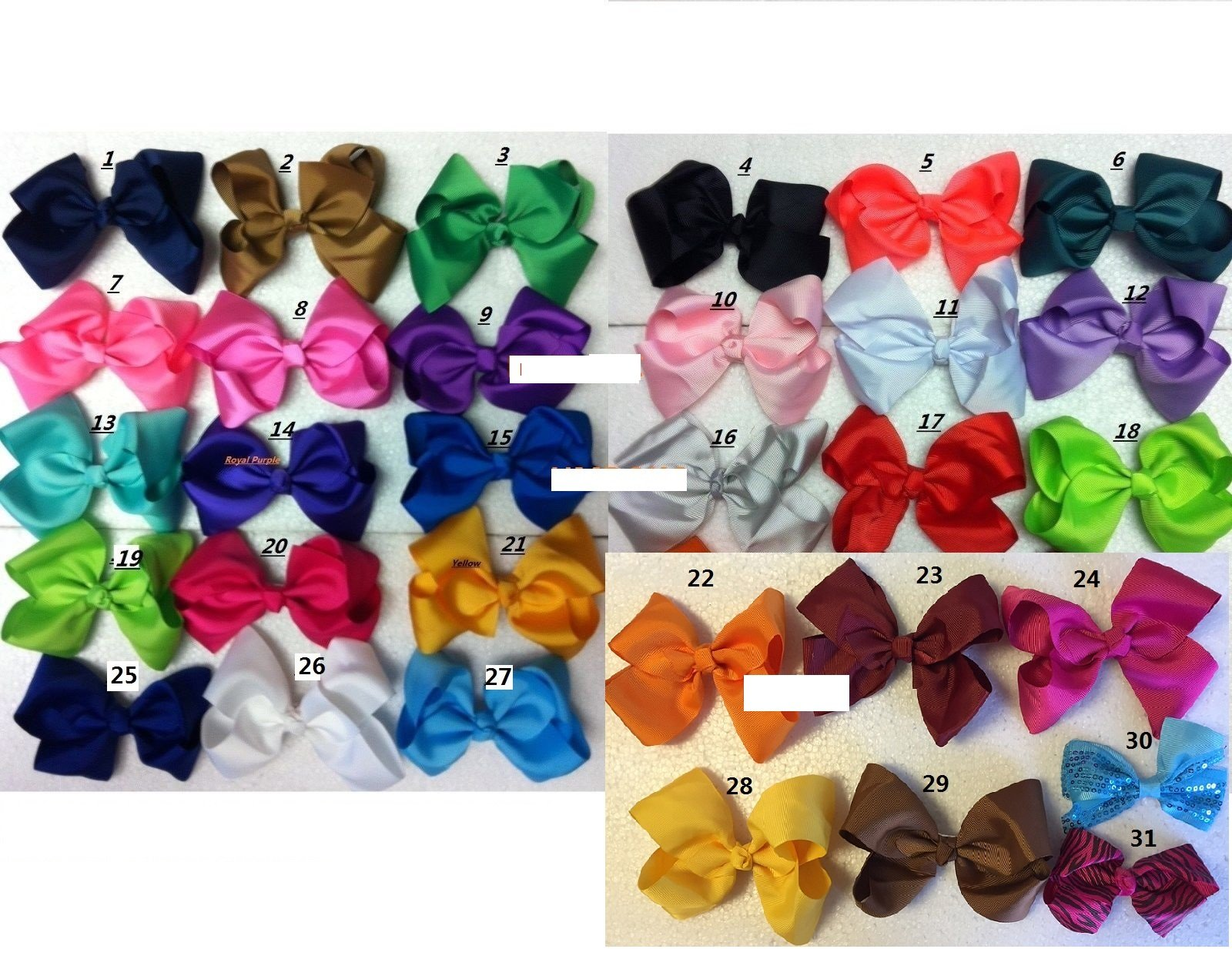 Pic 20 Pcs 5.5'' Girls Baby Toddler Kids Large Hair Bow Clip Boutique Us Seller by Cute baby girl (Image #1)