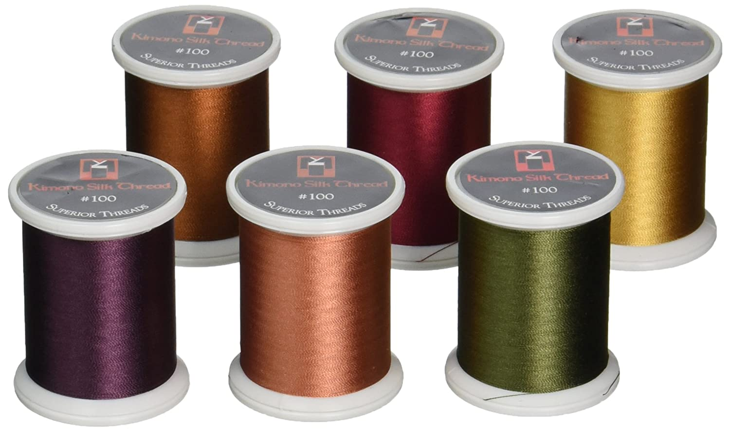 Superior Threads Kimono Silk #100 Quilting Thread 220 yds Spool 6-Pack Set Fall 133-06 Inc. BCACS32446