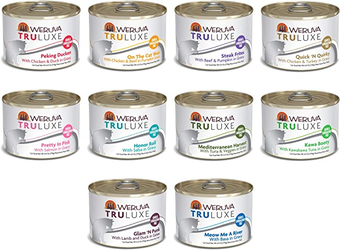Weruva Truluxe Grain Free Canned Cat Food 10 Flavor Variety Pack, 6 Ounce Cans Pack of 24