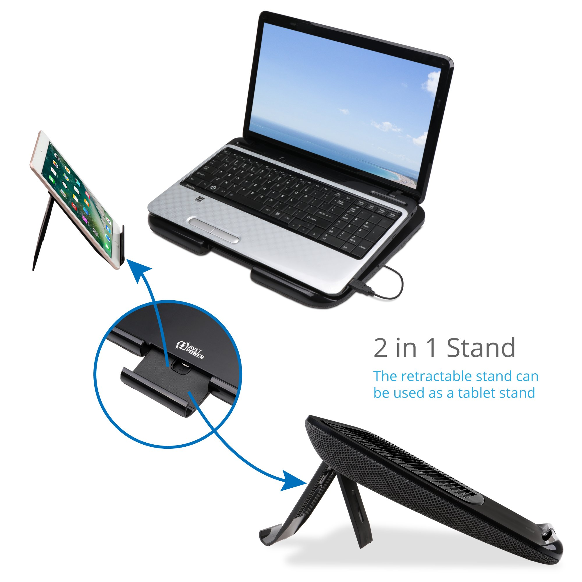 AVLT-Power Laptop Riser Stand Cooling Pad with USB Fan and Detachable Tablet Stand - Ergonomic Design Multiple Height/Angle, Soft Mesh Bottom, Notebook Cooler/Chill Mat/Lap Pad Table Desk by AVLT-Power (Image #2)