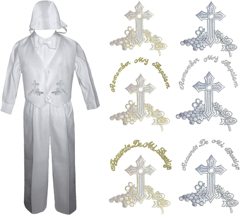 White Boy Baby Infant Toddler Church Baptism Christening Vest Suit New born 4T