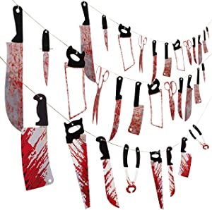 Moon Boat 3 Set Bloody Weapons Garland Banner - Halloween Zombie Vampire Party Decorations Supplies