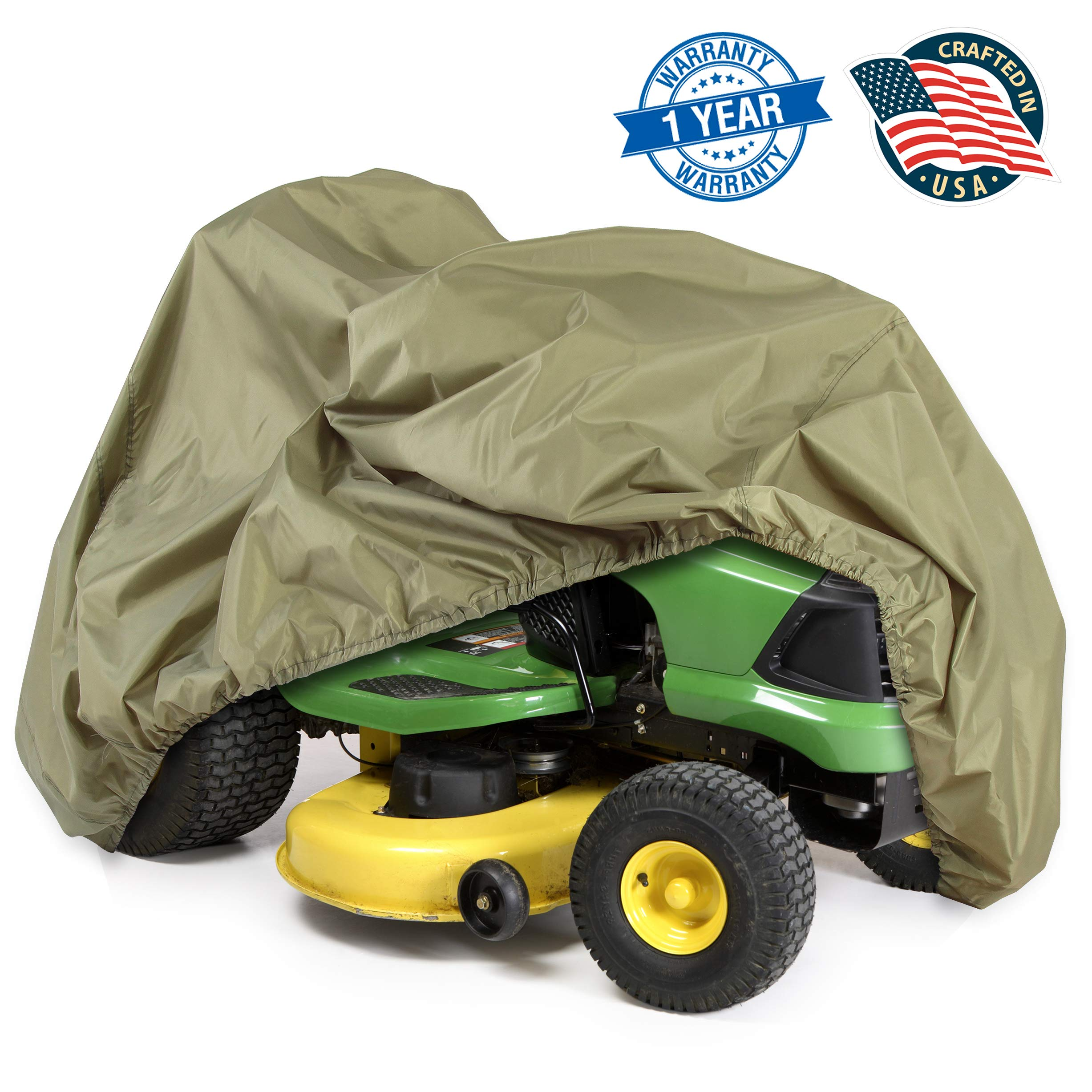 Universal Lawn Tractor Mower Cover - Armor Shield Waterproof Marine Grade Canvas, Weather Resistant with Mildew and Dust Protection - Indoor and Outdoor Protective Storage - Pyle PCVLTR11 (Green) by Pyle