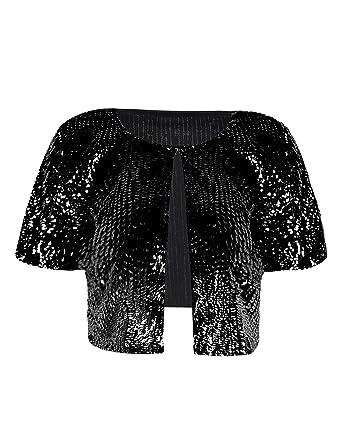 db3b7835d9b1 Amazon.com: PrettyGuide Women's Sequin Cropped Shrug Stretchy Glitter Bolero  Tops Black XS/US 0-2: Clothing