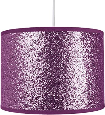Modern And Designer Bright Purple Glitter Fabric Pendant Lamp Shade 25cm Wide 60w Maximum By Happy Homewares Amazon Co Uk Lighting