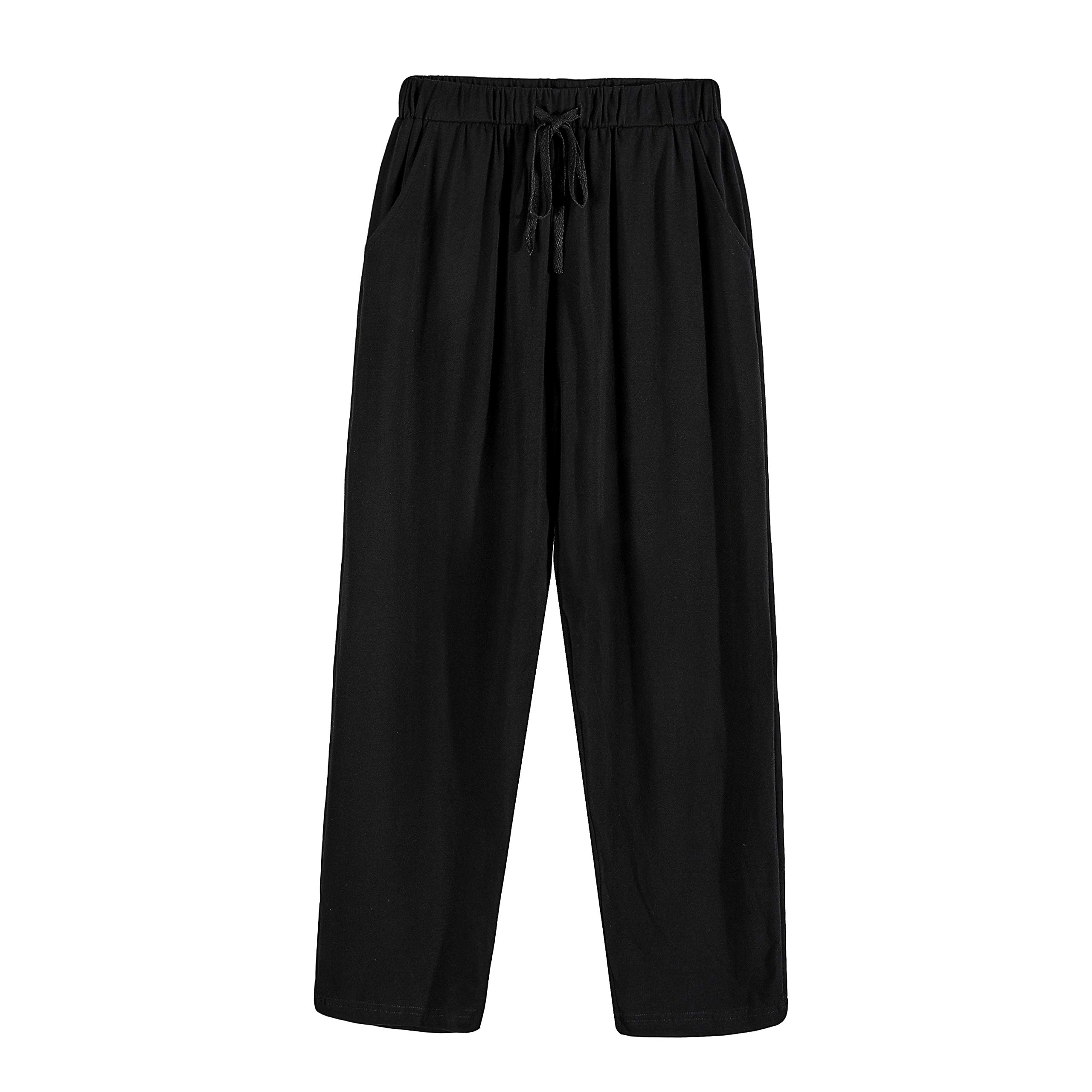 Suntasty Mens Lounge Pants Pyjama Trouser Lounge Wear Plain PJ Bottoms Nightwear(SP1001M/blackXL)