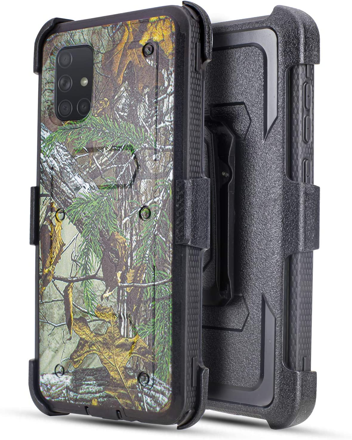Customerfirst Samsung Galaxy A51 Case (Does NOT FIT A50) Built-in [Screen Protector] Heavy Duty Holster Cover [Belt Clip][Kickstand] (Camo)