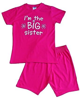 e1fb2009c I m The Big Sister Funny Kids Girl s Cotton Short Pyjamas Pjs Pajama Sizes  3 Year to 8 Year Pink