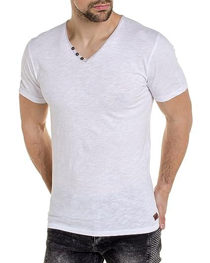 c02ca2f0735 Teddy Smith - Tee Shirt uni Blanc col V  Amazon.fr  Vêtements et accessoires