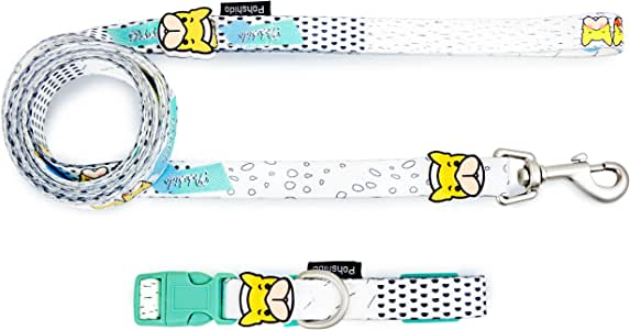 Pohshido Soft Adjustable Cute Dog Collar, Bulldog Decoration Durable Collar for Dogs, Holiday Graffiti Style Dog Collar for Boys Girls, Cute Prints for Small Medium Large Dogs, Heavy Duty D Ring