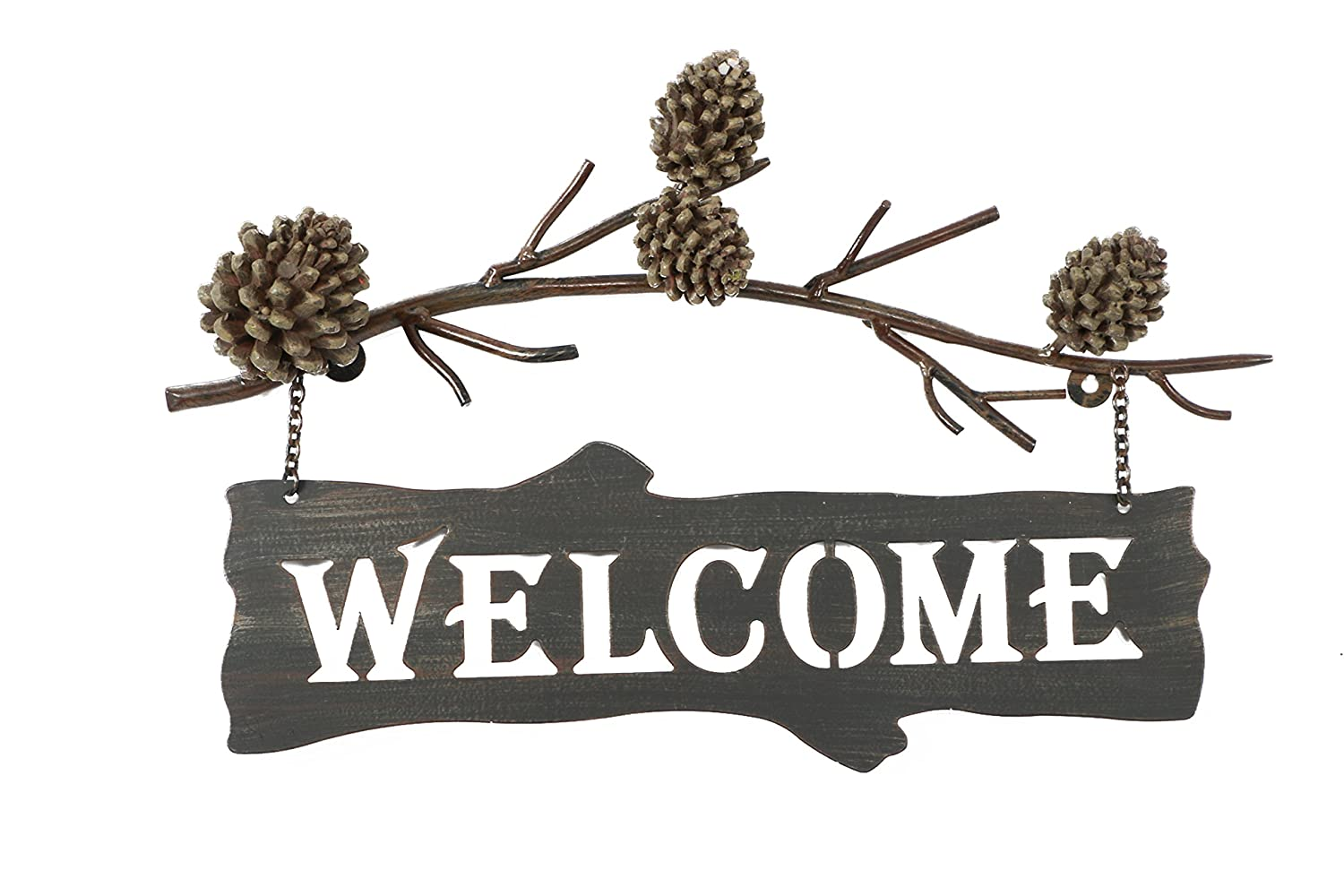 DEI Country Pinecone Welcome Sign, 17-Inch (25617)