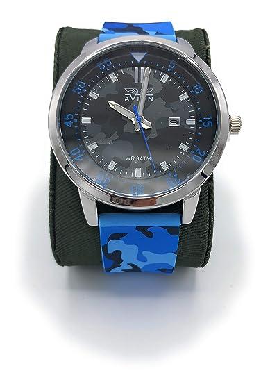 Avion Reloj Camuflaje Hombre de Pulsera de Cuarzo con Esfera con Gran Digital y Analógico aeronáutica Militar táctico: Amazon.es: Relojes