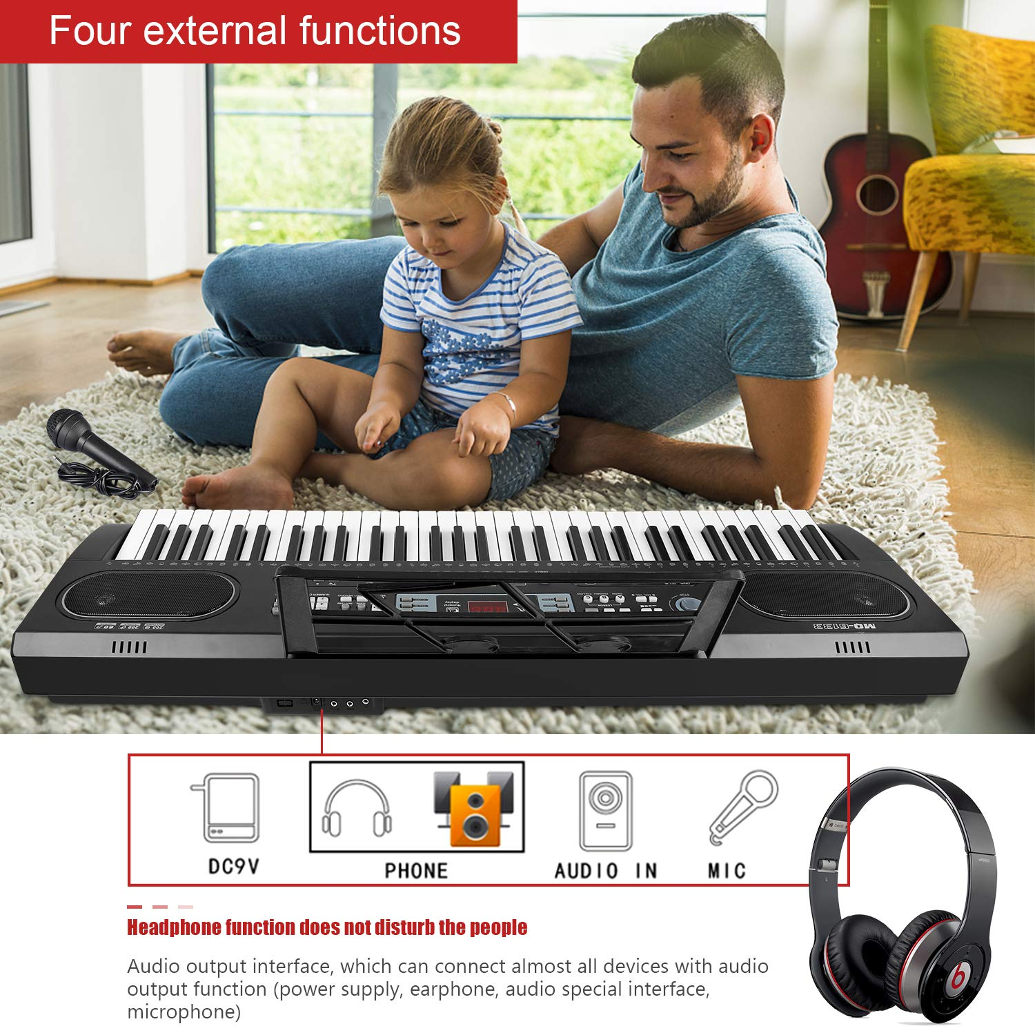 ZJTL 61-Key Digital Electric Piano Keyboard &Music Stand &microphone- Portable Electronic Keyboard (Kids & Adults) MQ-6133 by ZJTL (Image #6)