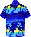 La Leela Casual Hawaiian Shirt for Men Short Sleeve Front-Pocket Surf Aloha Sun Blue