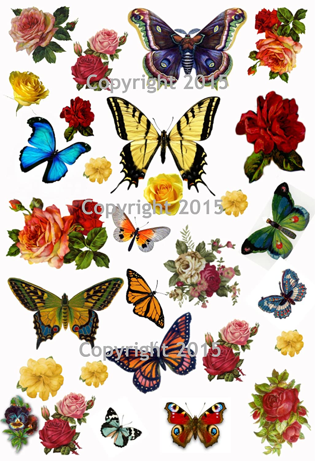 Vintage Butterflies and Flowers Collage Sheet Art Images for Decoupage, Scrapbooking, Jewelry Making Paper Moon Media