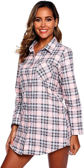 Misscoo Camisón de Manga Larga para Mujer Pijama con Botones Camisa de Noche de Franela para niñas Camisones para Mujer Camisón a Cuadros (Tamaño de Color Opcional): Amazon.es: Ropa y accesorios