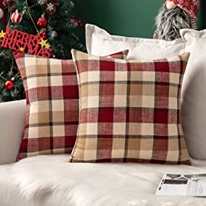 MIULEE Pack of 2 Decorative Throw Pillow Covers Checkered Plaids Tartan Cotton Linen Rustic Farmhouse Square Cushion Case for Christmas Decor Bench Sofa Couch Car Bedroom Red and Tan 18x18 inch