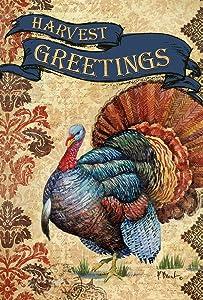 Toland Home Garden Harvest Greetings 28 x 40 Inch Decorative Fall Autumn Thanksgiving Turkey House Flag