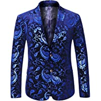 Men's Luxury Casual Blazer Single Breasted Two Button Suits Jacket Shining Blazer Prom Halloween Jacket