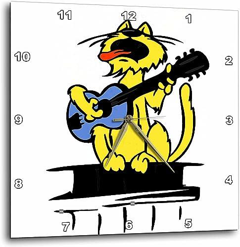 3dRose dpp_164461_3 Yellow Cat Playing Blue Guitar and Singing-Wall Clock