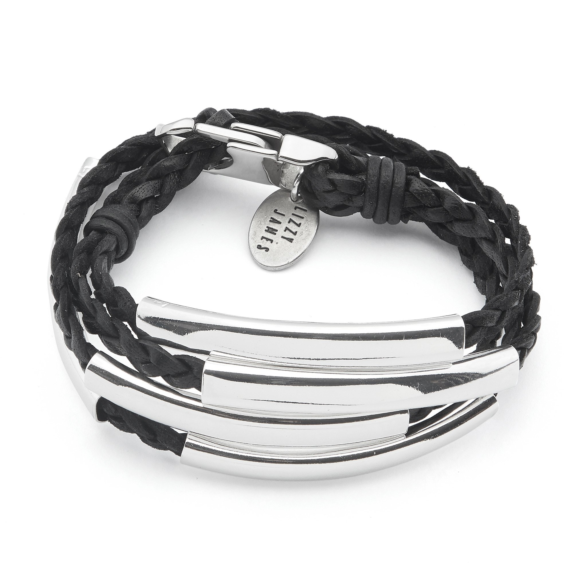 Lizzy James Mini Addison Wrap Bracelet Silverplate in Natural Black Braided Leather (Tiny)